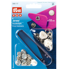 Prym Non-sew Press Fasteners Jersey 12mm Pearl Cap - 6 Pieces Brass Rustproof