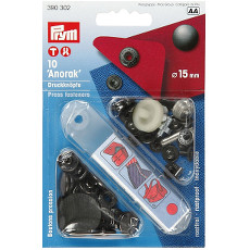Prym Non-sew Press Fasteners 15mm Brass Black Oxidized - 10 Pieces