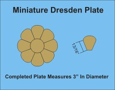 3-1/8in Dresden Miniature 3 Complete Plates - Paper Pieces