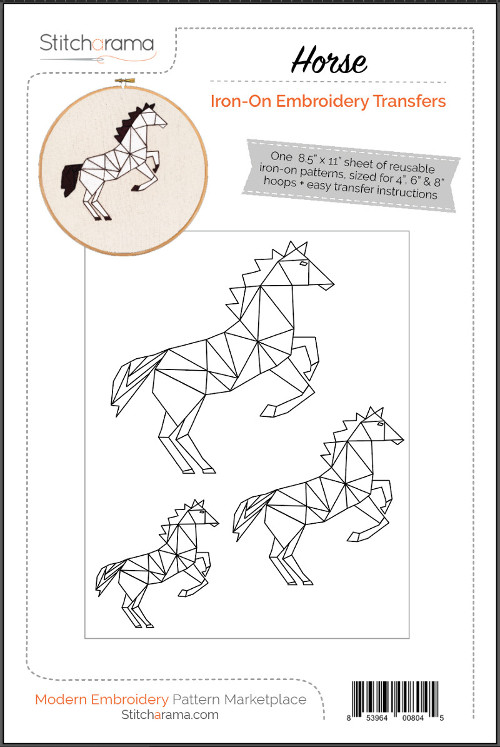 Horse Iron-On Embroidery Transfers