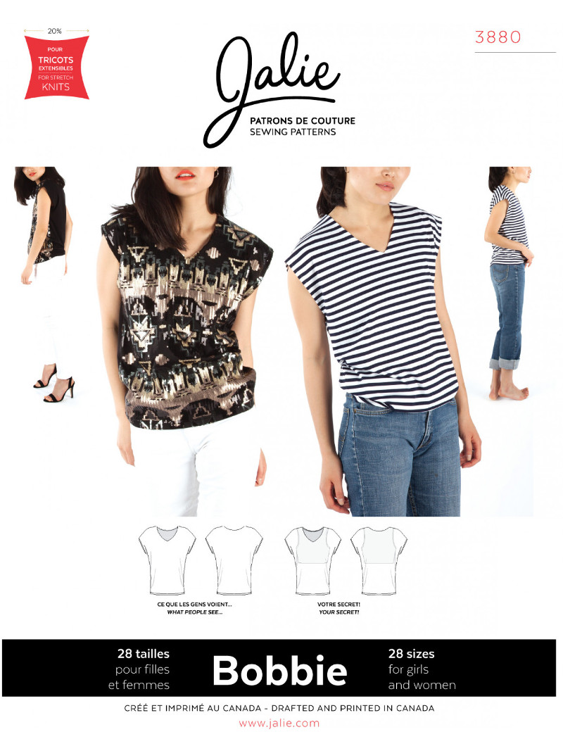 Bobbie Worry-Free V-Neck Top Pattern - Jalie Patterns