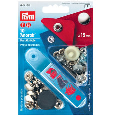Prym Non-sew Press Fasteners 15mm Brass Silver Coloured - 10 Pieces